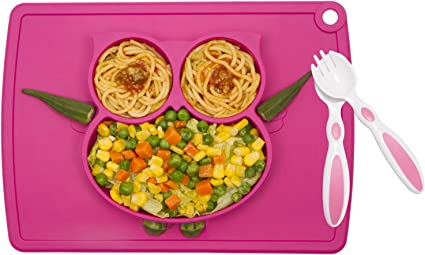 Kids Plates Baby Suction Placemat Silicone Toddlers Plate Portable Non-Slip for Kids Babies and Childrens