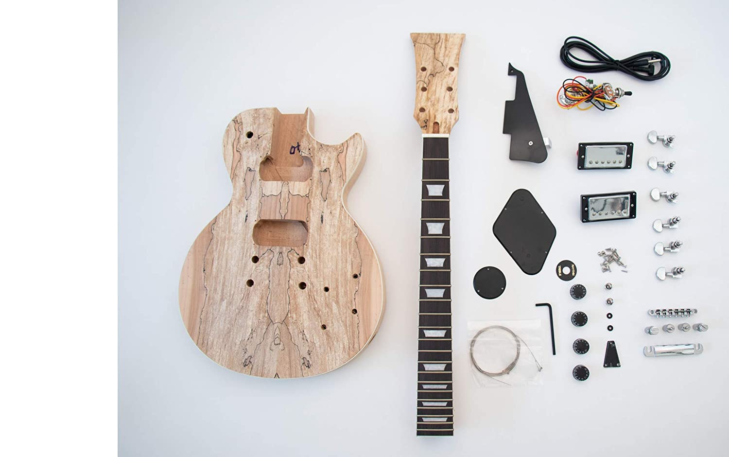 Spalted Maple LP Guitar - DIY Build Your Own Guitar Kit The FretWire SKU057