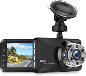 "CREUSA® Dash Cam, 1080P Full HD DVR Car Driving Recorder 3"" LCD Screen 170° Wide Angle Dash Camera for Car with WDR, G-Sensor, Parking Monitor, Loop Recording and Motion Detection (Black)"