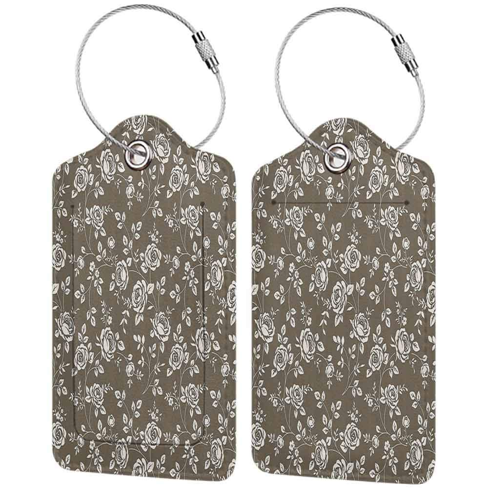 Printed luggage tag Roses Decorations Collection Silhouette of Rose Branches Twig Ornamental Old Fashioned Antique Design Protect personal privacy Beige Brown W2.7 x L4.6