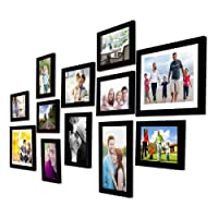 Art Street - Set of 12 Individual Black Wall Photo Frames Wall Hanging (Mix Size)(7 Units 5x7, 2 Units 6X8, 1 Units 6X10, 2 Unit 8x10 inch)