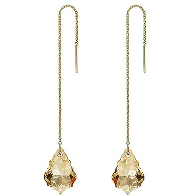 FANZE Women's Long Baroque Drop Threader Slide Earrings Made with Swarovski Crystal 7U4Jxyh