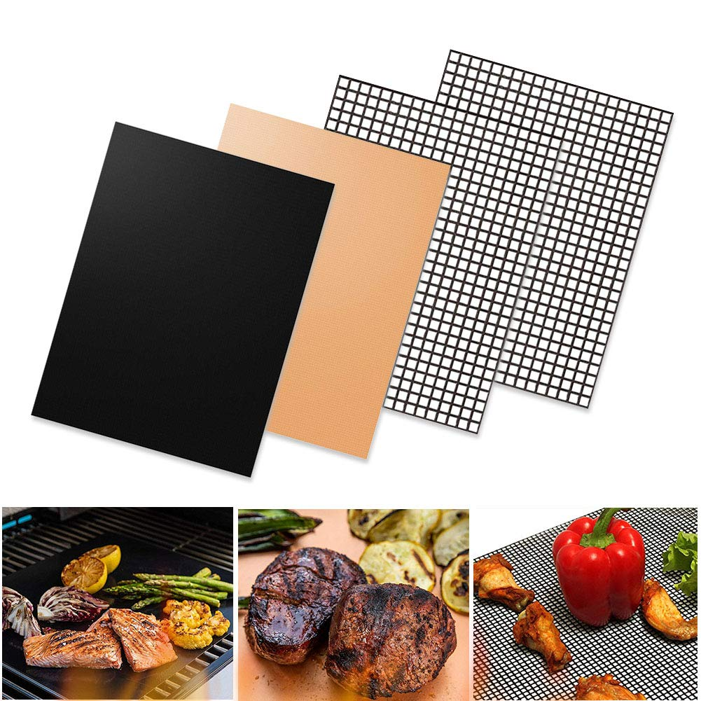LINXIN Non Stick Grill Mesh Mat,Pack of 4 FDA-Approved Grill Mats,Reusable, Easy Clean, Works on Electric Grill Gas Charcoal BBQ 15.75 x 13 Inches(2 x Solid Mat+2 x Mesh Mat) by LINXIN