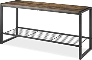 Whitmor Modern Industrial Entryway Bench w/Shoe Storage, Brown