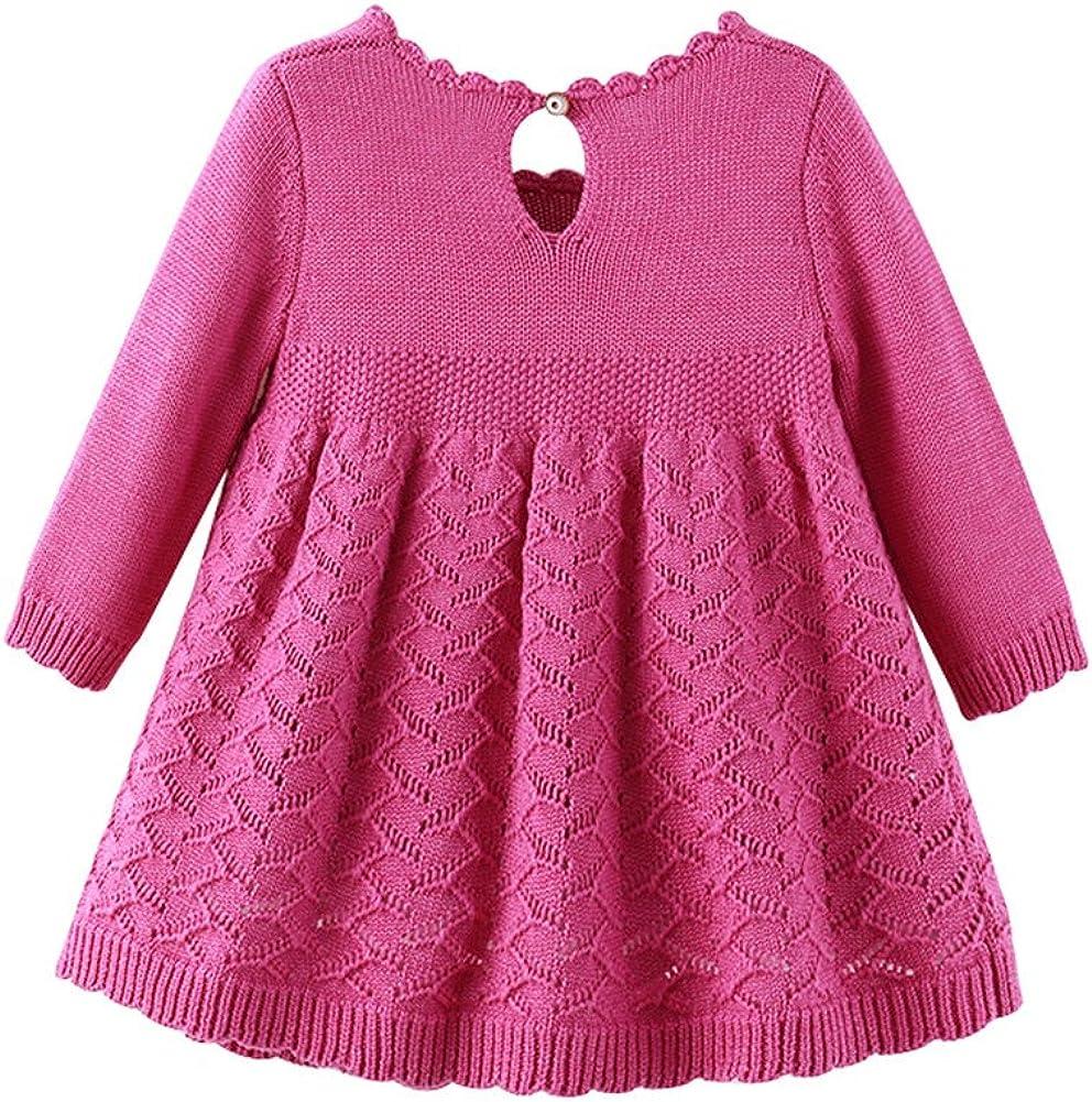 Auro Mesa Baby Girls Knit Dress Long Sleeve Princess 1 Year Birthday Dress Cute Baby Winter Dress