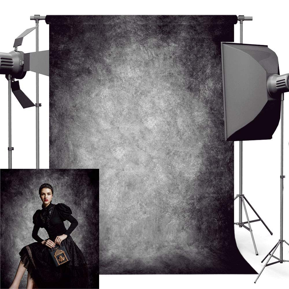 econious Photo Backdrop, 5x7ft Retro Abstract Black Portrait Backdrop for Photography, Resistant Fleece-Like Cloth Fabric, with Rod Pocket (Backdrop Only) by econious