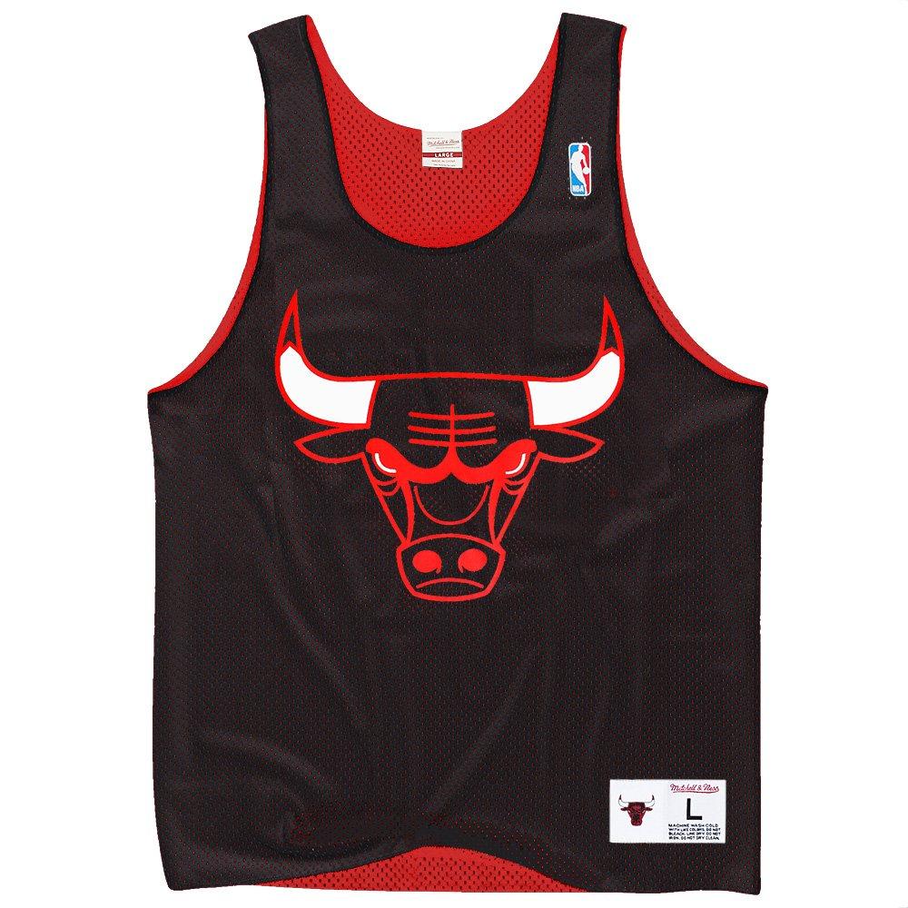 Mitchell & Ness Chicago Bulls NBA メンズドロップステップレトロメッシュリバーシブルタンクトップ - ブラック/レッド Large  B01GK8XIUE