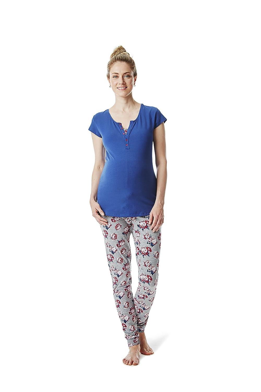 ESPRIT Umstandsmode - Nachwäsche Damen Pyjama 2 tlg. Schlafanzug - Schwangerschaft & Stillzeit