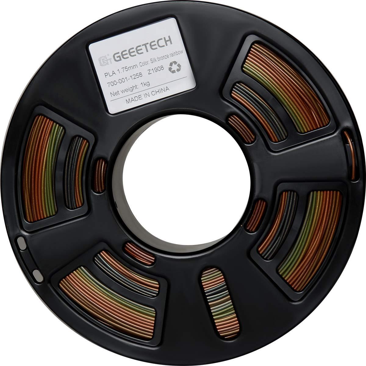 multicolor Geeetch PLA Filamento de 1,75 mm Silk Bronce Rainbow 3d Printer Filamento PLA 1 kg Spool