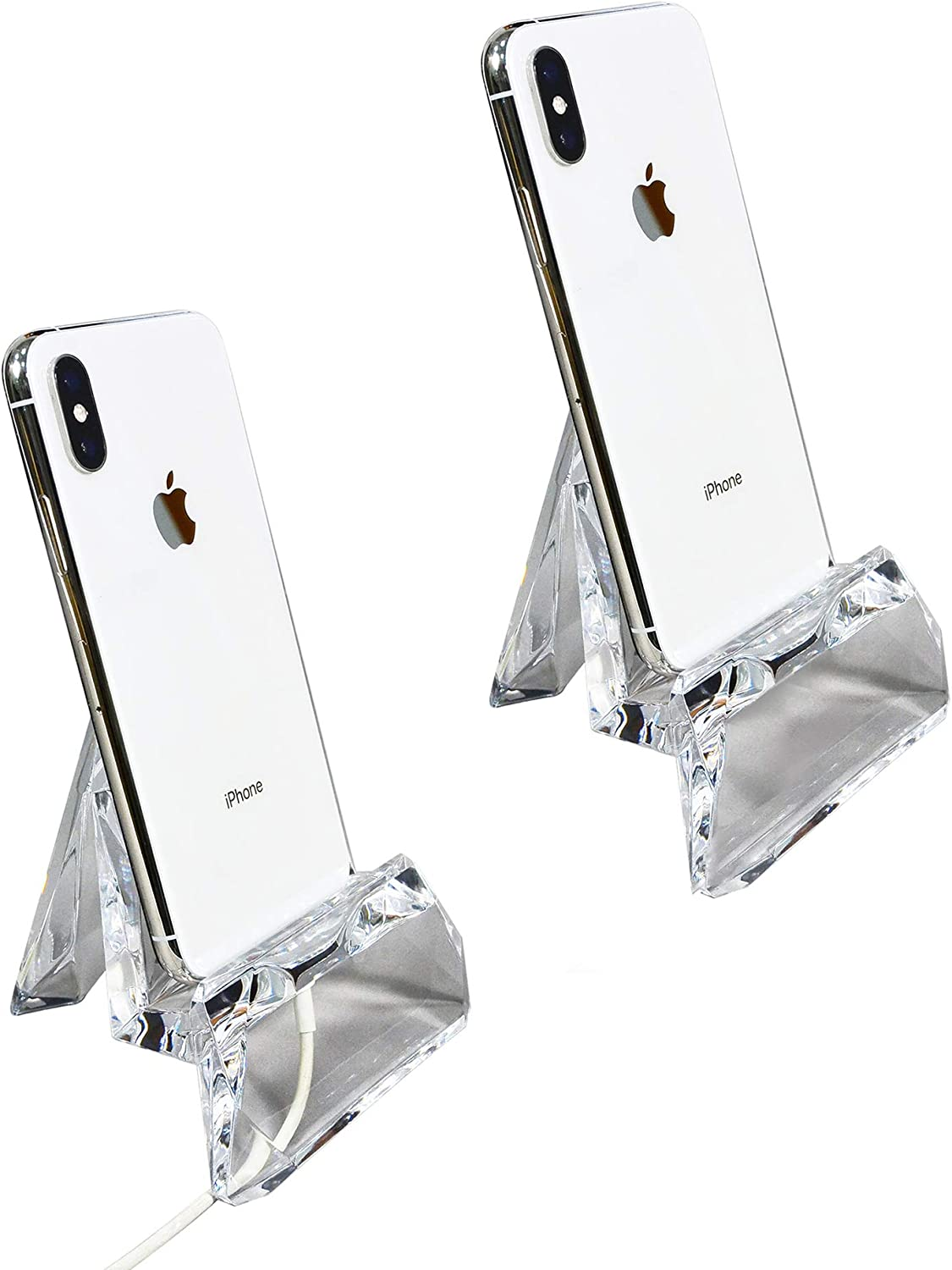 COM.TOP - Acrylic Cell Phone Holder, Mobile Phone Stand, Tablet Stand | Office Supplies, Stationery Organizer, Desk Accessories - Clear, 2 Pack