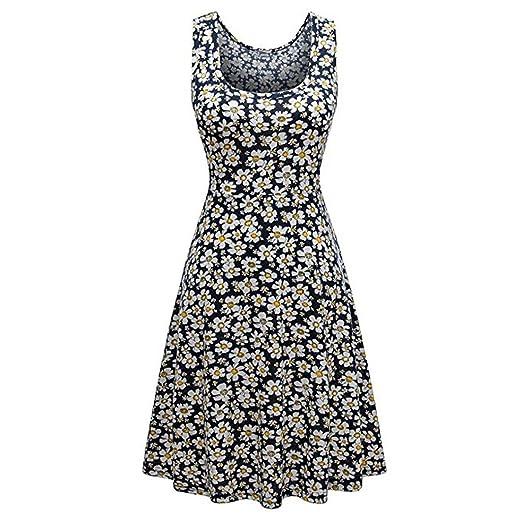 Misaky Clearance Womens Sleeveless Scoop Neck Summer Beach Midi A Line Tank Dress