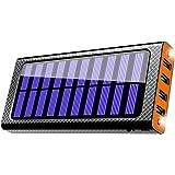 24000mAh 大容量 ソーラーチャージャー モバイルバッテリー 二個LEDランプ搭載 携帯充電器 急速充電可能 四つ出力ポート 4台同時充電でき 三つ入力ポート(Micro/Lightning/Type-C)電気量指示ランプ付き Android/iPhone/iPad/ゲーム機/カメラ等に対応 災害/旅行/アウトドアに大活躍 (オレンジ)