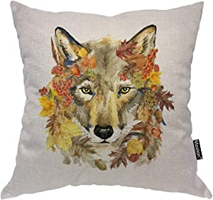 "Moslion Wolf Pillow Home Decorative Throw Pillow Cover Case Fierce Wolf Square Cushion Cover Standard Pillow Cases for Men Women Boys Girls Sofa Bedroom Livingroom 18""x18"",Multi"