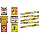Zombie Caution Tape & Zombie Posters Pack for Zombie Party or Halloween Party
