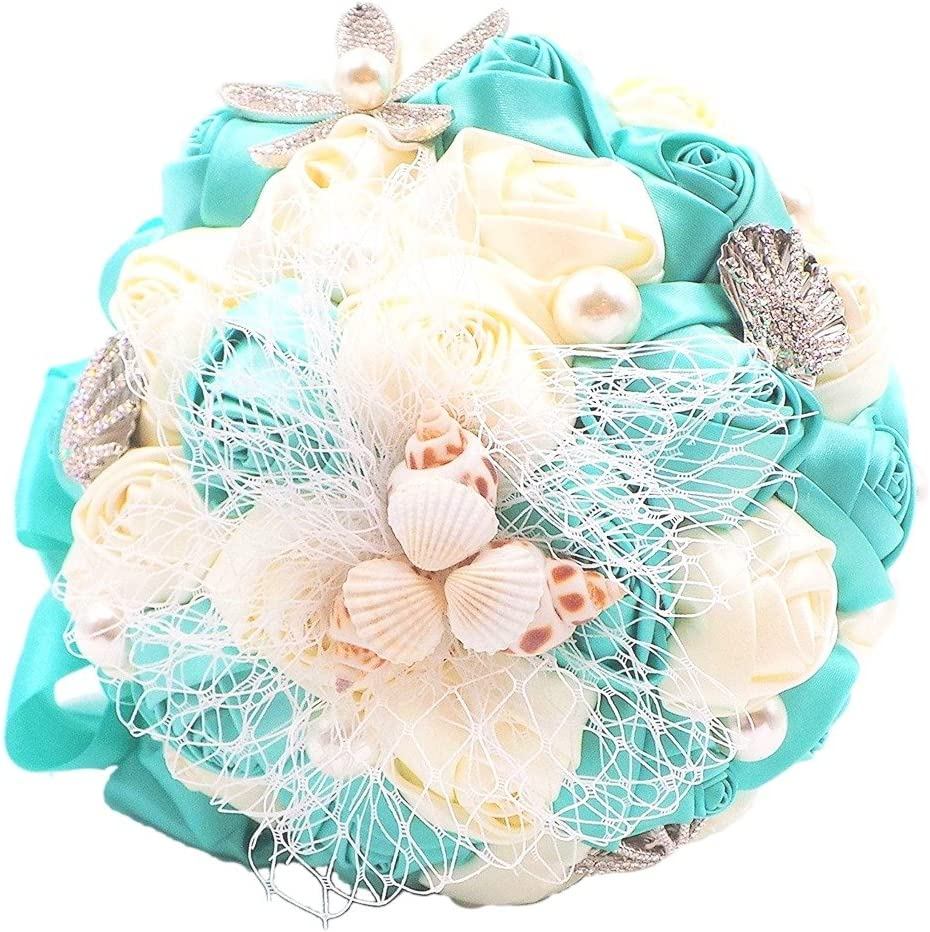 Abbie Home Beach Wedding Bridal Bouquet Holding Tossing Flower with Pearl Seashell and Rhinestone Decoration (Turquoise)