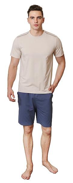 Pijamas de verano para hombres ropa de dormir corta de algodón suave Ropa de dormir cómoda