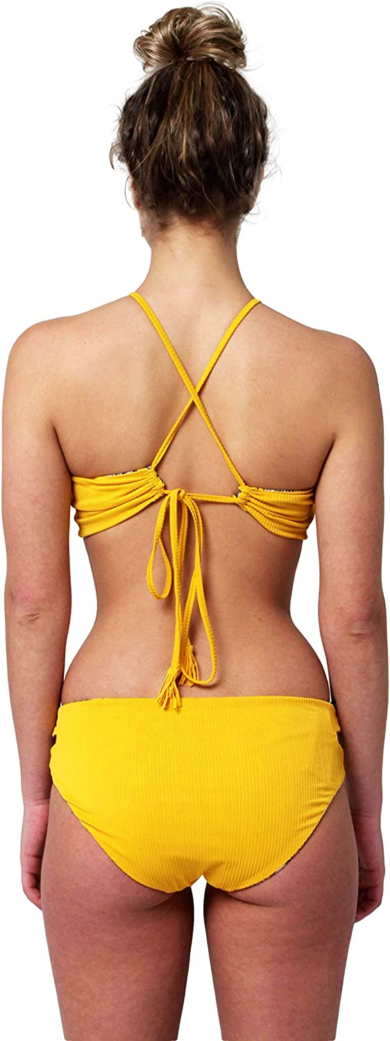 VIGOSS Reversible High Neck Bikini Top and Scoop Bottom with Ribbed Texture Two Piece Swimsuit