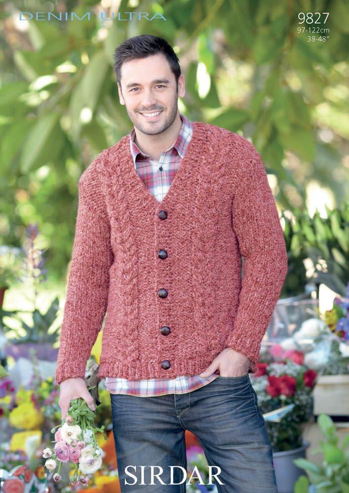 Sirdar Mens Denim Ultra Super Chunky Cardigan Knitting Pattern 9827 ...