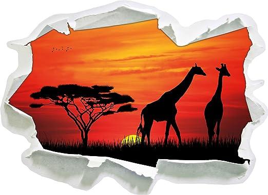 Stil Zeit Afrika Giraffen Im Sonnenuntergang Papier 3d Wandsticker