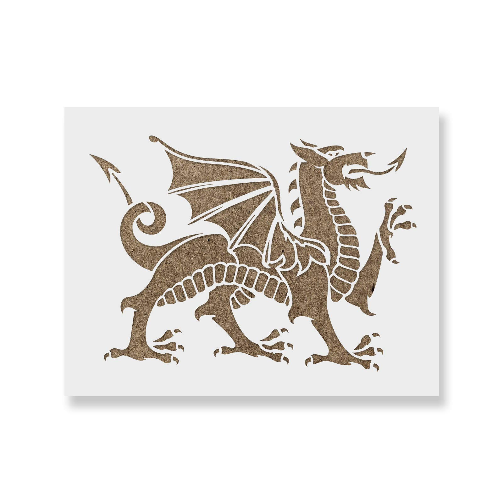 Medieval Dragon Stencil Template - Reusable Stencil with Multiple Sizes Available