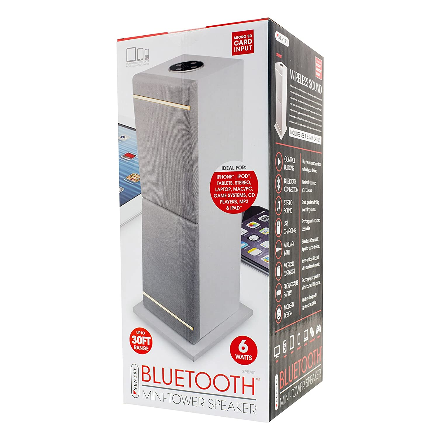 Amazon.com: Sentry Bluetoot Mini Tower Speaker Compatible with Most Mobile and Audio Devices: Electronics