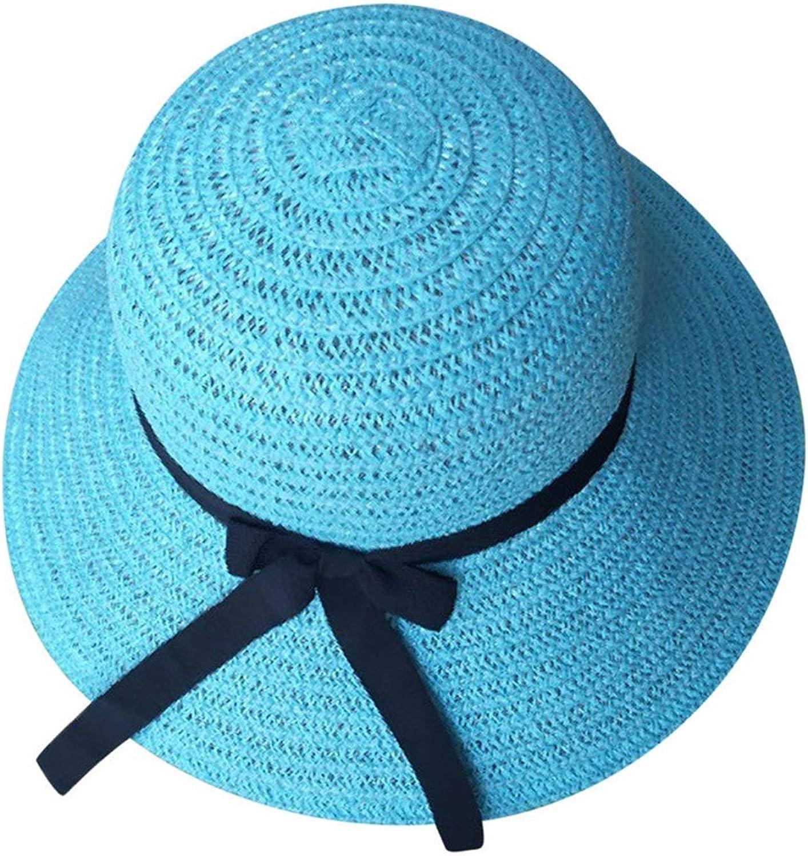 Floppy Foldable Women Straw Beach Sun Summer Hat Wide Brim Polyester European Fashion Bow Decor Solid Hat