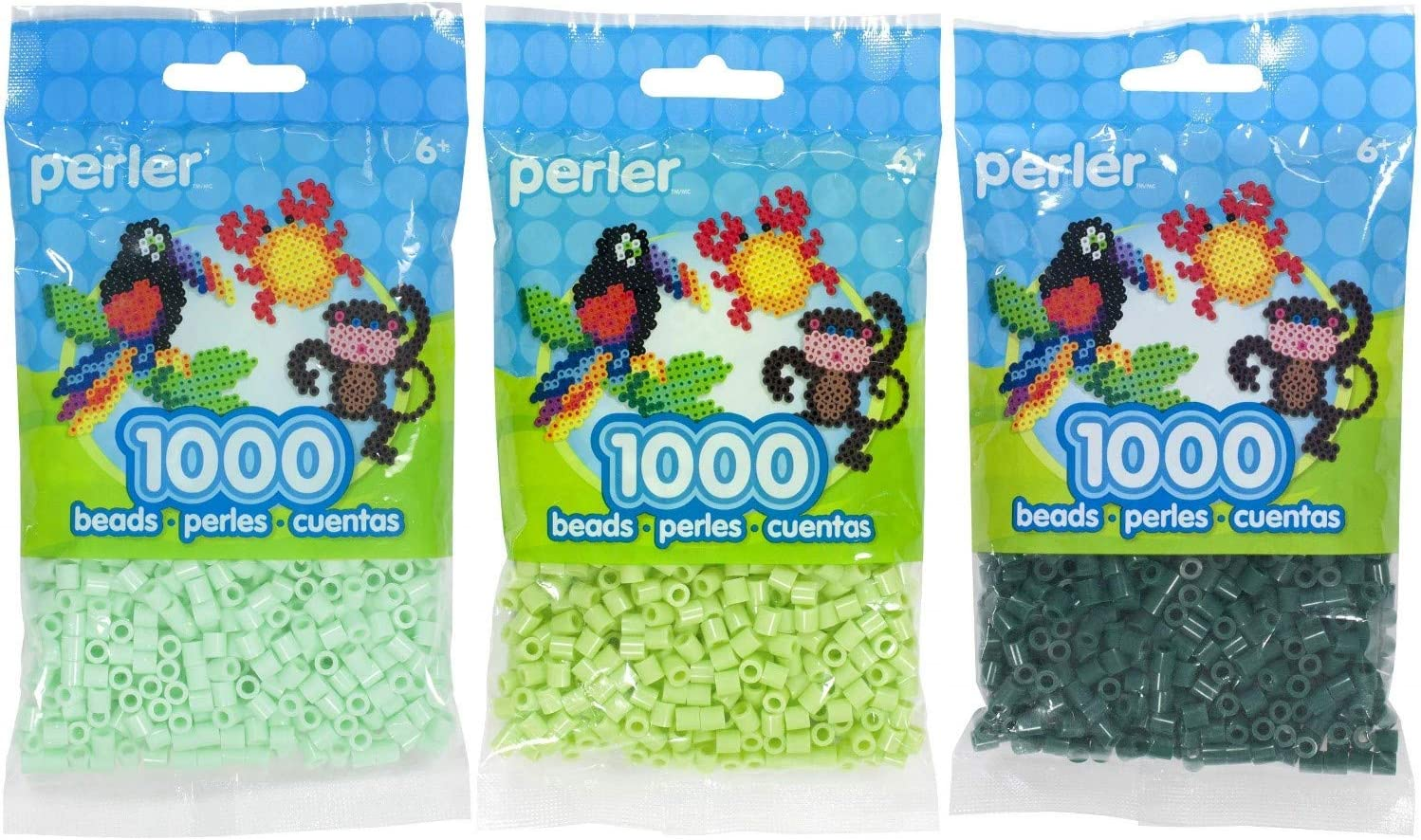 Perler Bead Bag 1000, 3-Pack - Mint, Sour Apple and Forest