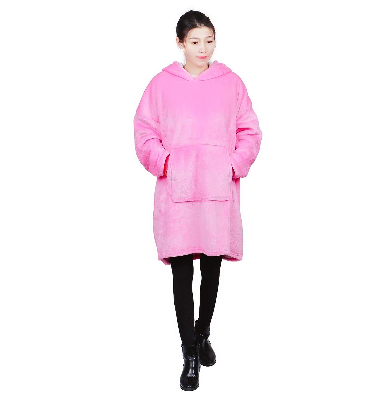 Oversized Hoodie Sweatshirt Blanket Pink Super Soft Warm Fleece /& Comfortable Pullover Giant Sherpa Plush Blanket Hoody for Adults Women Men Teens