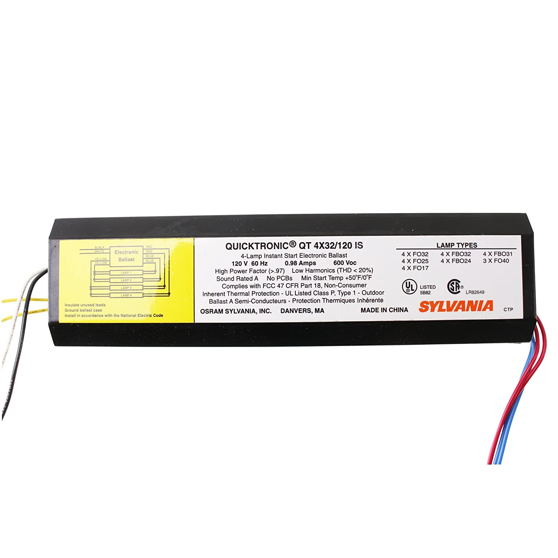 Sylvania Qt4x32 120 Is Fluorescent Ballast Fo32t8 4 Lamp 32w T8