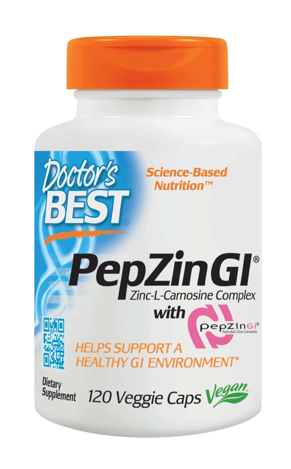 Doctor's Best PepZin GI, Zinc-L-Carnosine Complex, Non-GMO, Vegan, Gluten Free, Soy Free, Digestive Support, 120 Veggie Caps