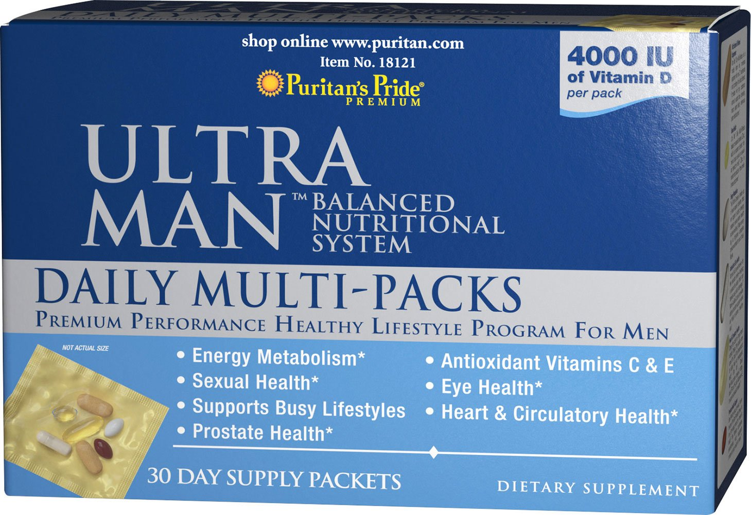 Puritan s Pride Ultra Vita Man Daily Multi-Vitamins, 30 Count