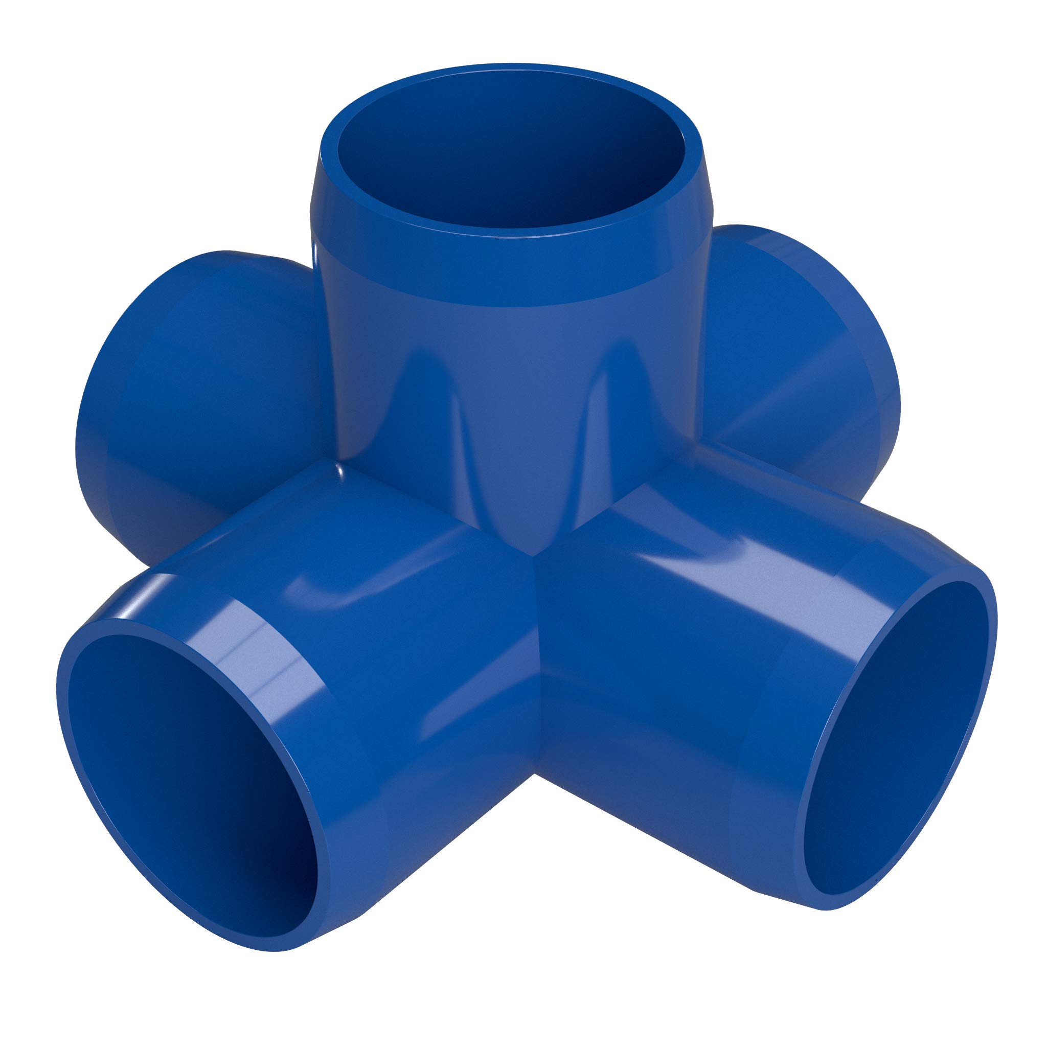 FORMUFIT F1145WC-BL-4 5-Way Cross PVC Fitting, Furniture Grade, 1-1/4'' Size, Blue (Pack of 4)