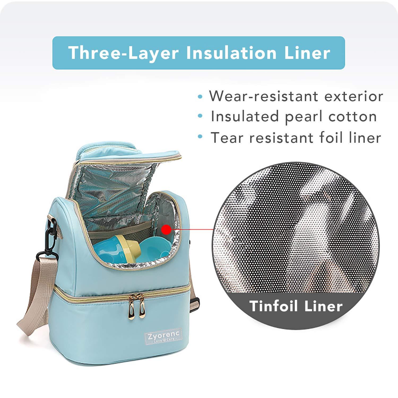 2 Bolsas de Hielo 3 BiBiberones incluidas Zyorenc Bolsa T/érmica Biberones Lactancia Leche Materna Mochila de Nevera