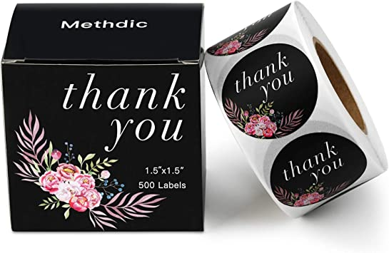 Amazon Com Methdic Thank You Stickers Labels Roll For Business Favors Birthday Gift Bags Baby Shower Wedding 500 Labels 1 Roll 1 5 Waterproof Thankyou C Office Products