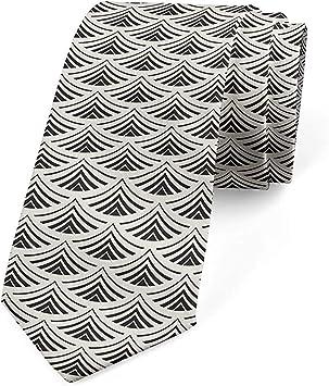 Corbata de hombre, motivo geométrico japonés de abanico, 8 cm ...
