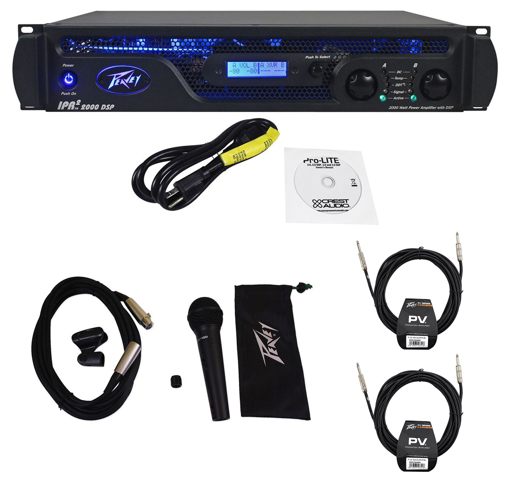 Peavey IPR2 2000 DSP 1,800Watts Power Amplifier w/EQ, Crossover+Mic + (2) Cables by Peavey