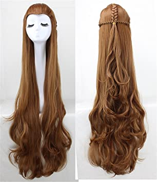 "OKEH 47"" larga recta marrón peluca Natural sintético mujeres de Tauriel Cosplay traje pelucas"
