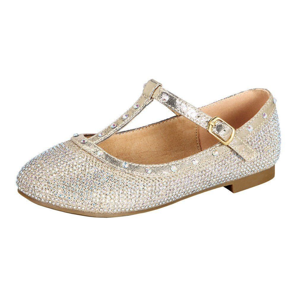 Little Girls Nude Rhinestone T-Strap Closed Toe Dress Shoes 10 Toddler:  Amazon.co.uk: Shoes & Bags