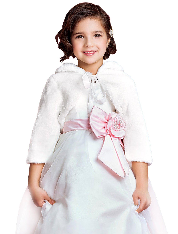 EllieHouse Girls Faux Fur Wrap Bolero Shawl Kid Wedding Jacket KJ03