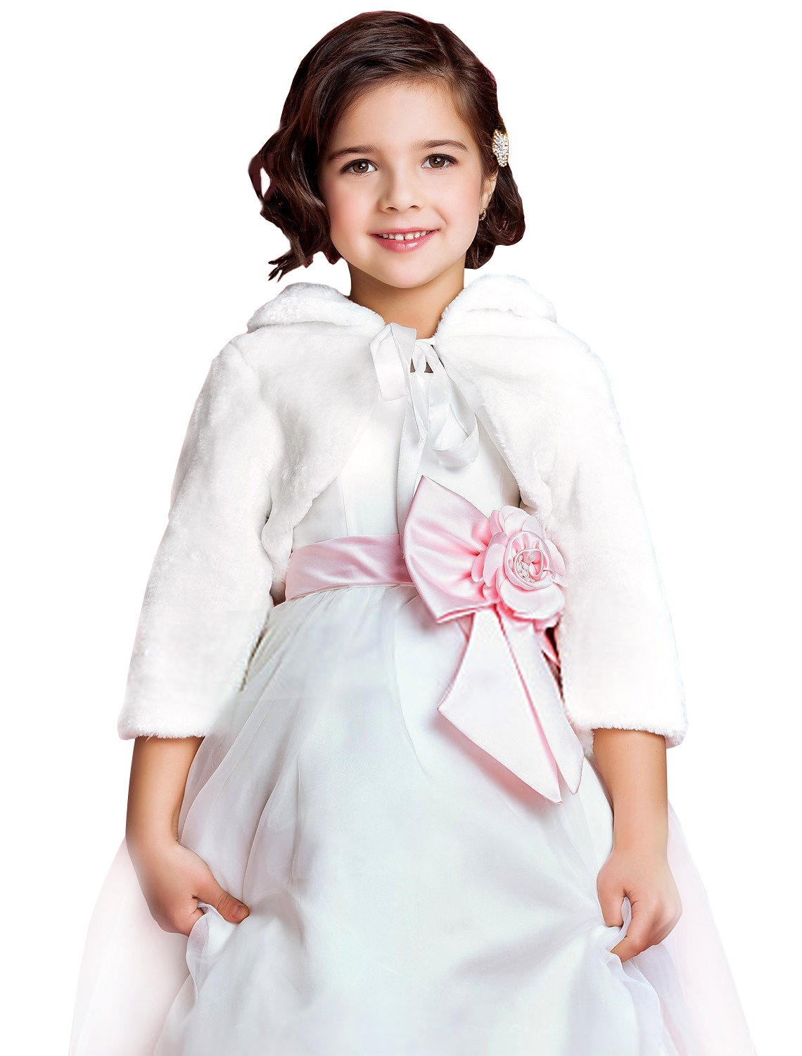 EllieHouse Girls Fur Wrap Bolero Shawl Kid Wedding Jacket White 12 Year