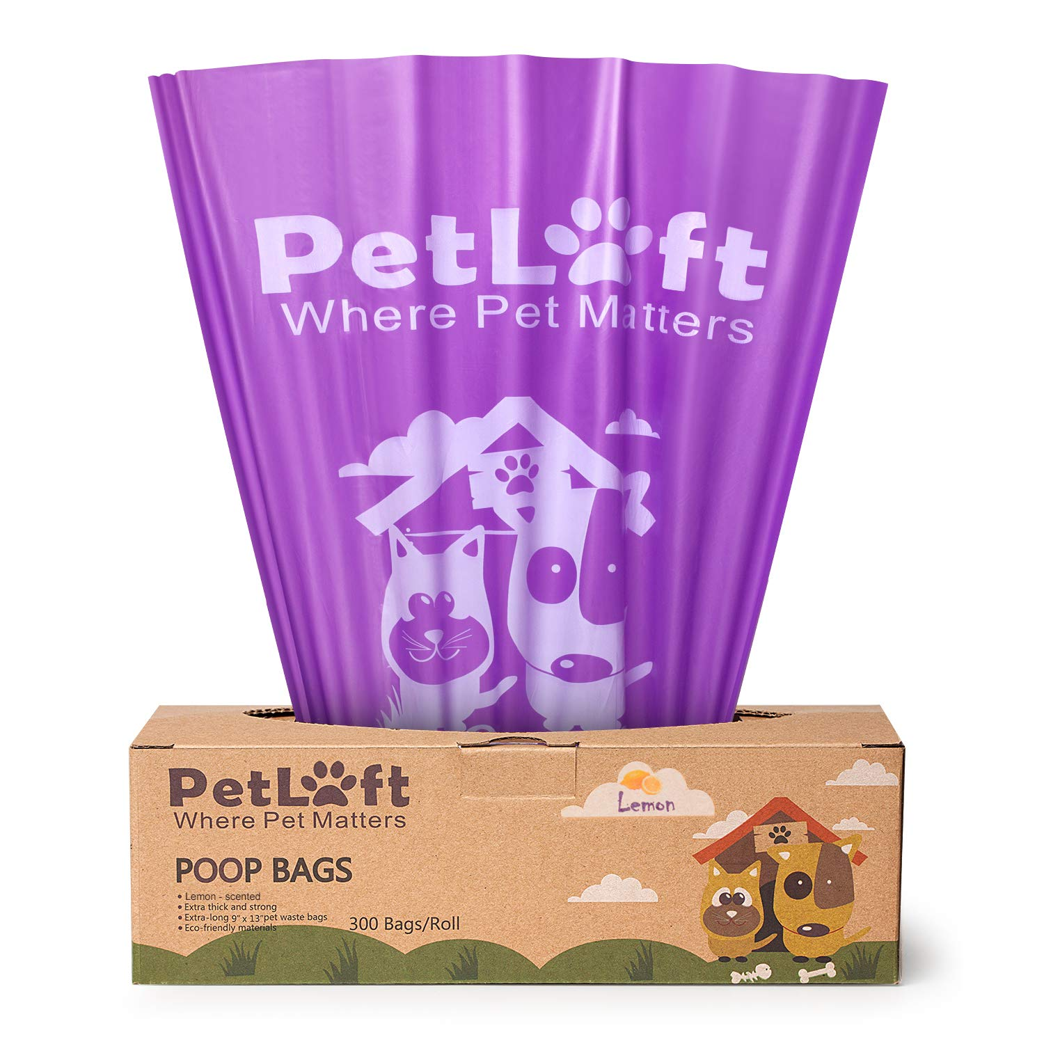 300 Counts (Lemon-Scented) PETLOFT Poop Bags for Dogs, 300-Count Lemon-Scented Durable EPI Biodegradable Environment-Friendly Dog Waste Bag, Dog Poop Bag in Tissue Dispensing Format Purple (Lemon-Scented)