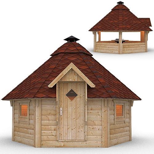 Grillkota Pavillon Dacheindeckung wählbar inkl Grillanlage ca 9m Rote Schindel