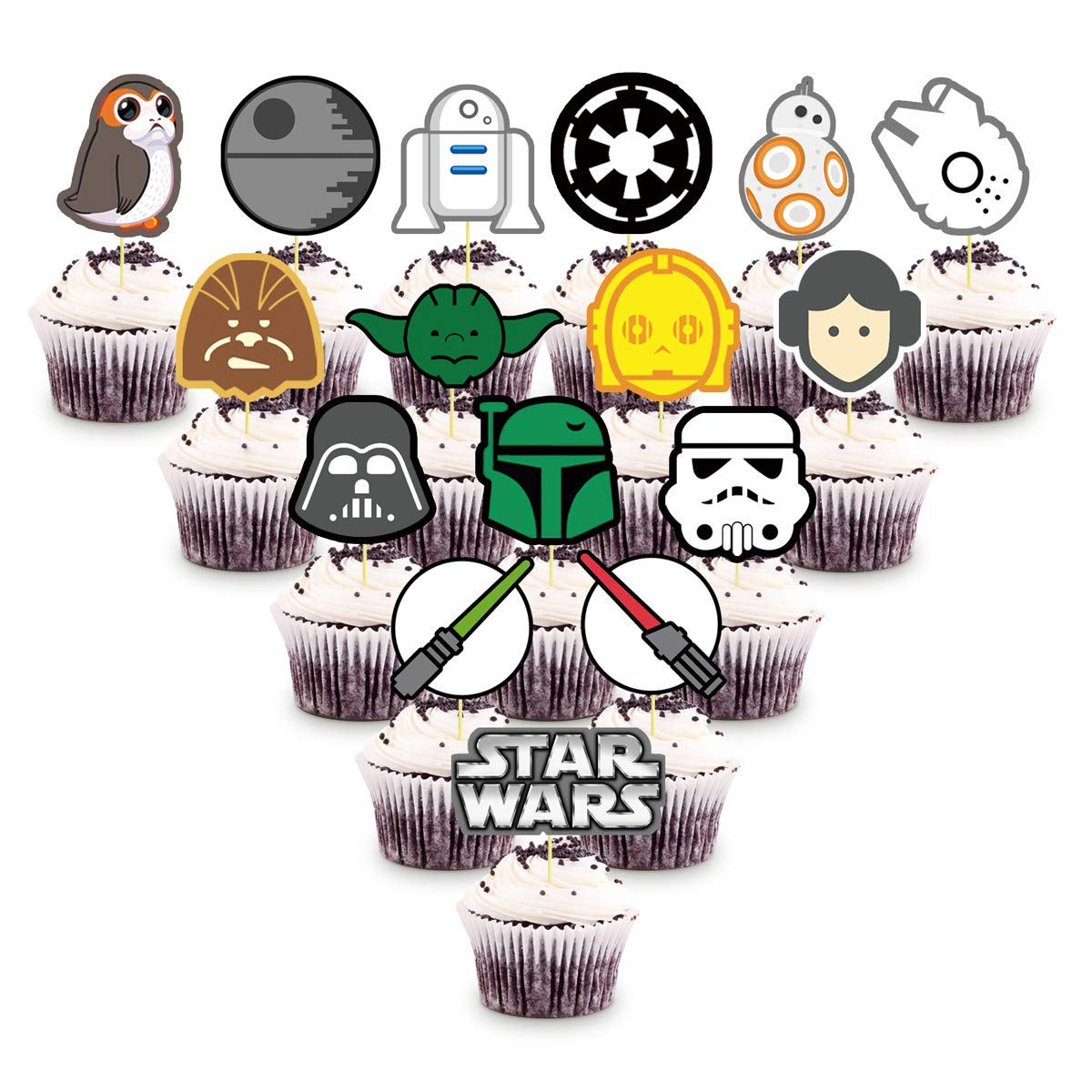 ONE PHOENIX Cake Decorations for Star Wars Cupcake Toppers, 32 counts