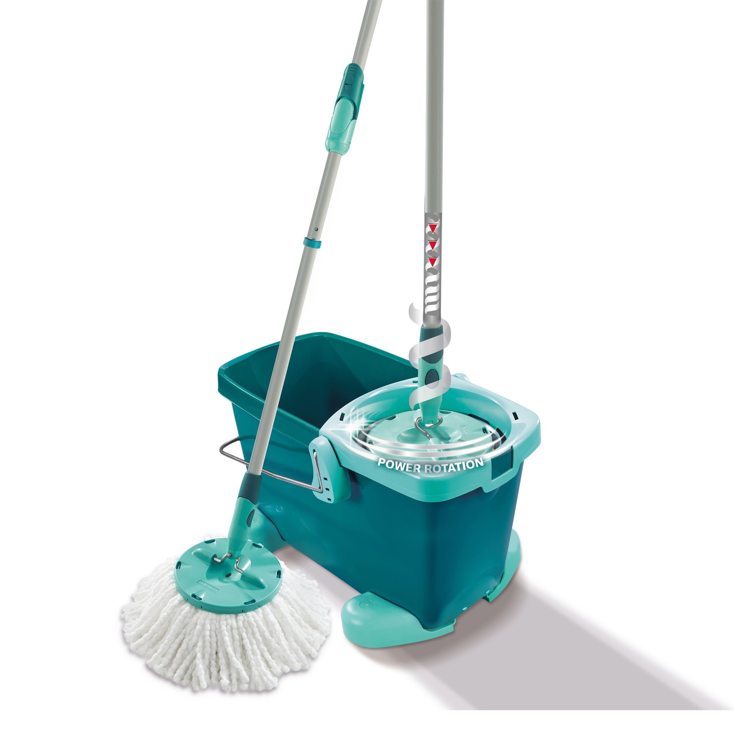 Leifheit Set Clean Twist Mop with Rolling Cart, Floor Cleaner, Mop, Mop Bucket, Mint Green, 52052