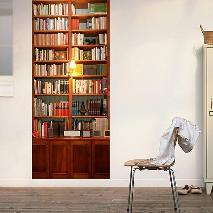 PVC Adhesivo Fotográfico Pegatina 77X200cm Vinilos Decorativos para Puerta Pared Cocina Sala de Baño (Estante para libros)