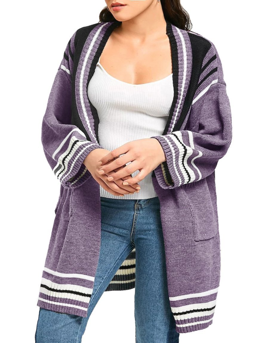 Rotita Women Striped Open Front Sweater Cardigans Plus Size Long Sleeve Knit Oversized Pointelle Pullover