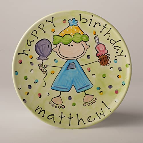 Happy Birthday Boy Cake Plate In Green