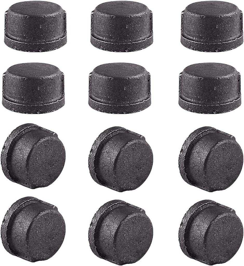 Amersumer 12 Pcs 1/2 Inch Black Cast Iron Pipe Caps, DIY Retro Steam Punk Furniture Pipe Covers Fittings, Vintage Shelf Plumbing Pipe Decor