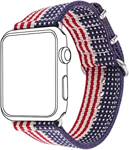 Bandmax Nylon Band Compatible For Apple Watch 38MM/40MM, American Flag Nylon Fabrics Replacement Strap Accessories For iWatch Series 5/4/3/2/1 Mix Stainless Steel Classic Buckle(The Stars&Stripes)
