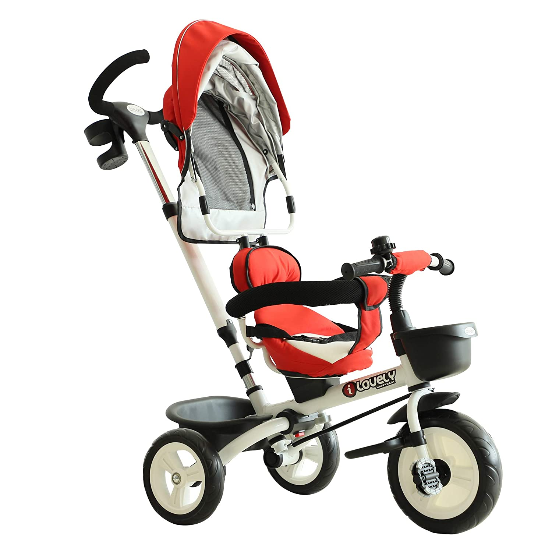 Kunststoff Dreirad 118 x 53 x 105 cm Metall Buggy Kinderwagen Kinderauto Kinder Fahrrad mit Sicherheitsgurt und Sonnendach Blau HOMCOM 4-in-1 Kinderdreirad Aluminium